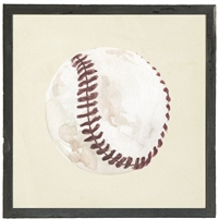 square watercolor art print baseball
