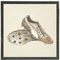 square watercolor art print cleats