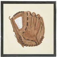 square watercolor art print baseball mitt glove