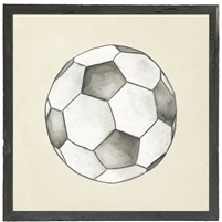square watercolor art print soccer ball