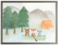 rectangle art print watercolor woodland animals bear fox racoon tent trees