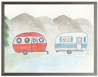 rectangle watercolor art print mountains woodland animals campers