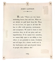 John Lennon passage wall art canvas tarp off white inspirational encouragement embrace life