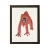 wall art children's watercolor red monkey wood frame grey