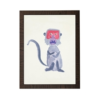 wall art children's watercolor red face gray monkey wood frame grey