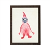 wall art children's watercolor red gray face monkey wood frame grey