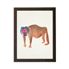wall art children's watercolor red face blue hair brown monkey wood frame grey