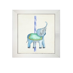 Wall art watercolor carousel merry-go-round elephant ride pole Antique Curiosities