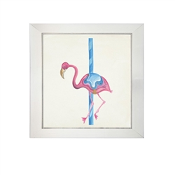 Wall art watercolor carousel merry-go-round flamingo ride pole Antique Curiosities