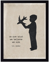 children's art silhouette young boy lad airplane black border C.S. Lewis archival paper quote