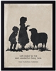 children's art silhouette sheep girl boy black border archival paper Hans Christian Anderson Quote