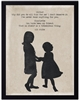children's art silhouette two girls black border archival paper E.B. White Charlotte's Web
