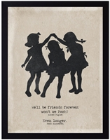 children's art silhouette three girls playing black border archival paper pooh piglet