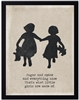 children's art silhouette two girls teddy bears holding hands black border archival paper sugar + spice