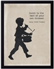 children's art silhouette young boy drumming black border archival paper Henry Thoreau quote march