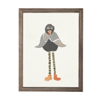 wall art children's paper collage gray black bird long legs striped orange shoes wood frame blue/gray