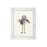 wall art children's paper collage gray purple orange bird long legs striped shoes wood frame blue/gray