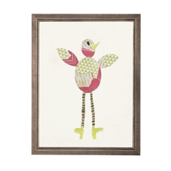 wall art children's paper collage pink green bird long legs striped yellow shoes wood frame blue/gray