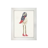 wall art children's paper collage gray cream bird long legs striped red converse sneakers wood frame blue/gray