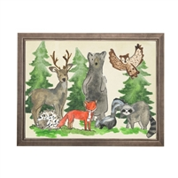 wall art woodland animals water color grey/blue frame wood glass reproduction bear owl deer fox porcupine fox skunk raccoon Antique Curiosities