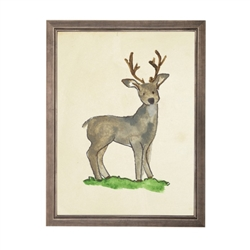 wall art deer animal water color grey/blue frame wood glass reproduction  Antique Curiosities