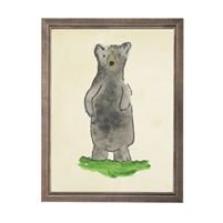 wall art bear animal water color grey/blue frame wood glass reproduction Antique Curiosities
