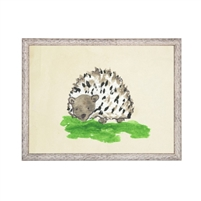 wall art porcupine animal water color grey/blue frame wood glass reproduction Antique Curiosities