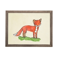 wall art fox animal water color grey/blue frame wood glass reproduction Antique Curiosities