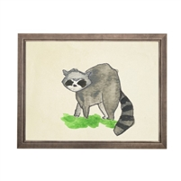 wall art racoon animal water color grey/blue frame wood glass reproduction Antique Curiosities