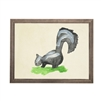 wall art skunk animal water color grey/blue frame wood glass reproduction Antique Curiosities