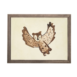 wall art owl animal water color grey/blue frame wood glass reproduction Antique Curiosities
