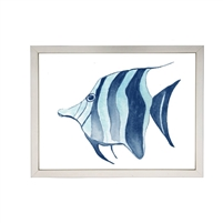 wall art children's watercolor blue striped fish aqua silver frame