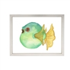 wall art children's watercolor green yellow puffer fish silver frame