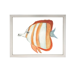 wall art children's watercolor orange stripes fish silver frame