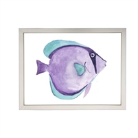 wall art children's watercolor purple blue fish silver frame