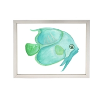 wall art children's watercolor spa aqua green fish silver frame
