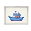 Antique Curiosities wall art watercolor blue boat red flag life float Antique Curiosities