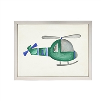 wall art watercolor green helicopter whirlybird Antique Curiosities
