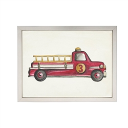 wall art watercolor red fire truck 3 kid's Antique Curiosities