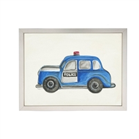 wall art watercolor blue police car red light Antique Curiosities