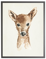 rectangle art print watercolor baby deer gray wood frame