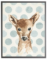 rectangle art print watercolor baby deer gray wood frame light blue dots
