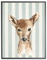 rectangle art print watercolor baby deer gray wood frame light blue stripes