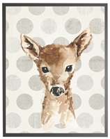 rectangle art print watercolor baby deer gray wood frame polka dots