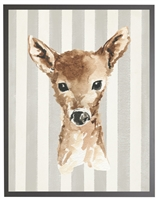 rectangle art print watercolor baby deer gray wood frame stripes
