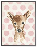 rectangle art print watercolor baby deer gray wood frame light pink dots