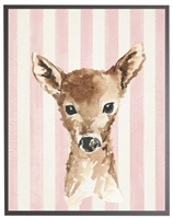 rectangle art print watercolor baby deer gray wood frame light pink stripes