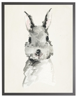 rectangle art print watercolor baby bunny rabbit grey wood frame