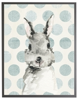 rectangle art print watercolor baby bunny rabbit grey wood frame blue dots