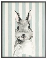 rectangle art print watercolor baby bunny rabbit grey wood frame blue stripes